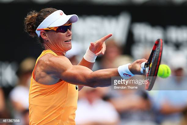 Sam Stosur of Australia plays a forehand in her first round match against Lucie Safarova of the Czech Republic during day two of the 2015 Sydney...