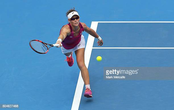 Sam Stosur of Australia plays a forehand in her match against Daniela Hantuchova of Slovakia during day three of the 2016 Sydney International at...