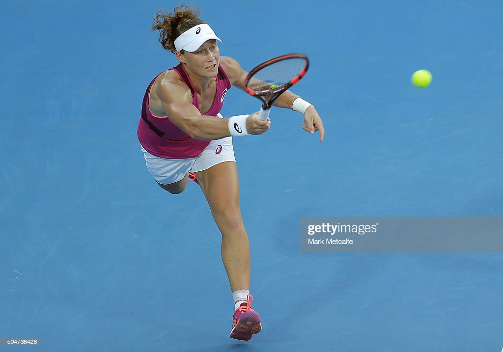 Sam Stosur of Australia plays a forehand in her match against Monica Puig of Puerto Rico during day four of the Sydney International at Sydney Olympic Park Tennis Centre on January 13, 2016 in Sydney, Australia.
