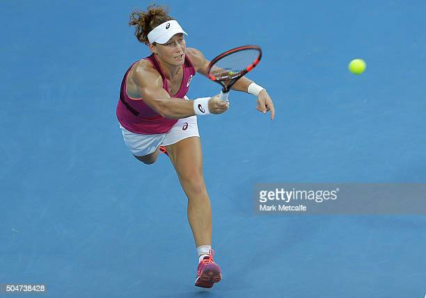Sam Stosur of Australia plays a forehand in her match against Monica Puig of Puerto Rico during day four of the Sydney International at Sydney...