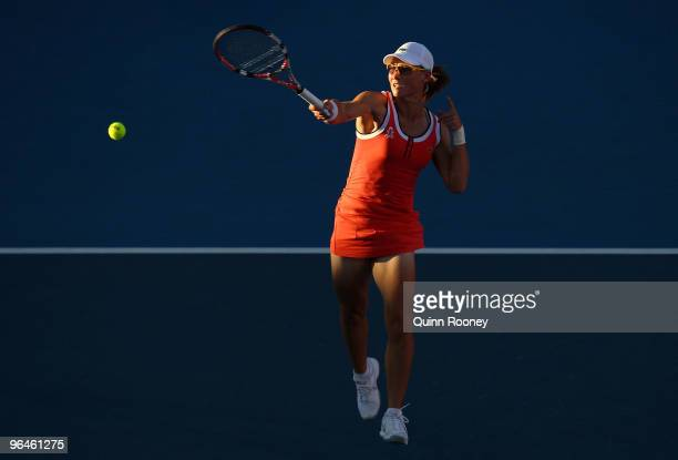 Sam Stosur of Australia plays a forehand in her singles match against Maria Jose Martinez Sanchez of Spain during the 2010 Fed Cup World Group II tie...