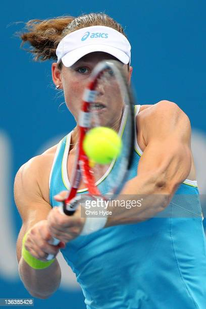 Sam Stosur of Australia plays a shot against Iveta Benesova during day four of the 2012 Brisbane International at Pat Rafter Arena on January 4 2012...