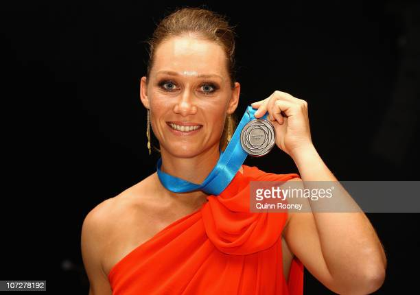 Sam Stosur of Australia poses with the Newcombe Medal at the Newcombe Medal Awards at Melbourne Park on December 3 2010 in Melbourne Australia