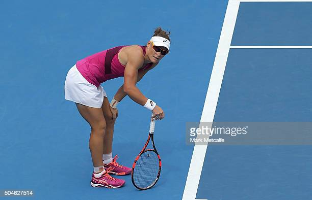 Sam Stosur of Australia reacts to losing a point in her match against Daniela Hantuchova of Slovakia during day three of the 2016 Sydney...