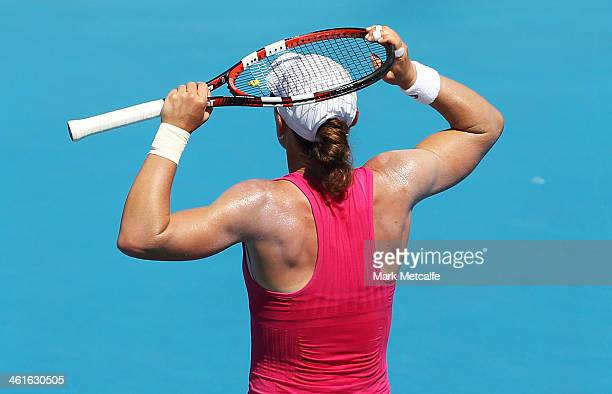 Sam Stosur of Australia reacts to losing a point in her semi final match against Klara Zakopalova of the Czech Republic during day six of the...