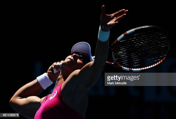 Sam Stosur of Australia serves in her quarter final match against Bojana Jovanovski of Serbia during day five of the Moorilla Hobart International at...