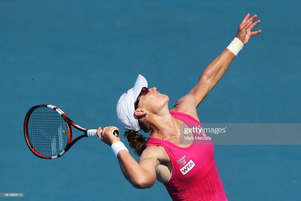 Sam Stosur of Australia serves in her semi final match against Klara Zakopalova of the Czech Republic during day six of the Moorilla Hobart International at Domain Tennis Centre on January 10, 2014 in Hobart, Australia.