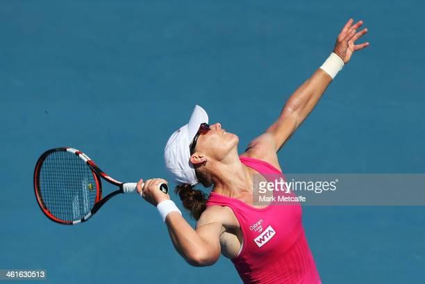 Sam Stosur of Australia serves in her semi final match against Klara Zakopalova of the Czech Republic during day six of the Moorilla Hobart...