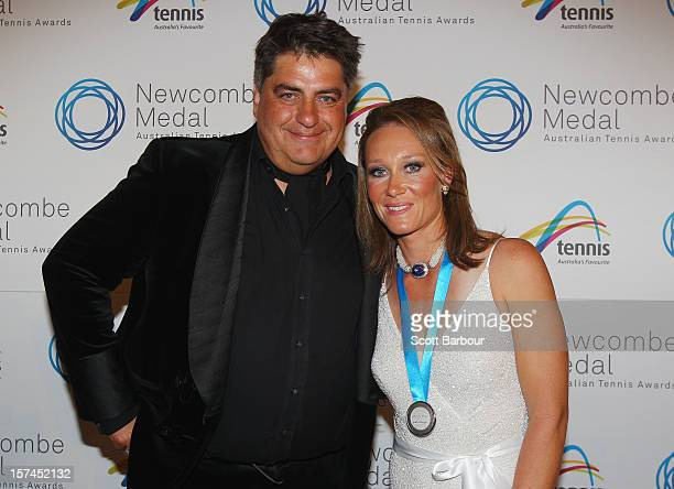 Sam Stosur poses with Matt Preston after she won the Newcombe Medal during the 2012 John Newcombe Medal at Crown Palladium on December 3 2012 in...