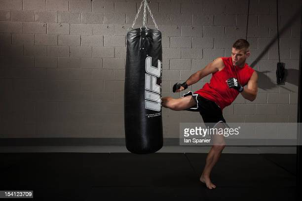 Sam Stout poses for a portrait during a catalog shoot at the UFC gym on August 1, 2011 in Las Vegas, Nevada.