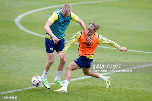 Sam Surridge and Ryan Glover of Bournemouth during a pre-season training session at Vitality Stadium on July 07, 2021 in Bournemouth, England.