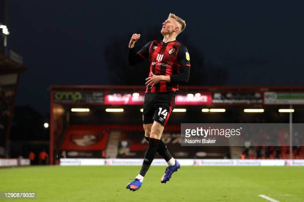 Sam Surridge of AFC Bournemouth celebrates after scoring his team's fifth goal during the Sky Bet Championship match between AFC Bournemouth and...