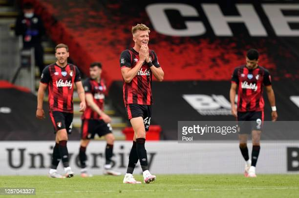 Sam Surridge of AFC Bournemouth reacts after the Premier League match between AFC Bournemouth and Southampton FC at Vitality Stadium on July 19, 2020...