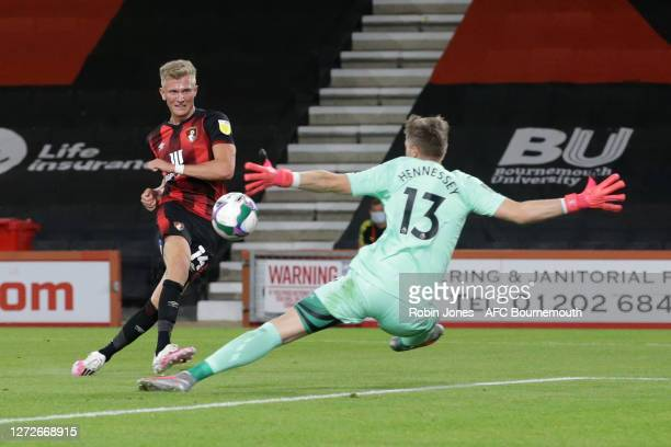 Sam Surridge of Bournemouth first half goal is ruled out for offside during the Carabao Cup Second Round match between AFC Bournemouth and Crystal...