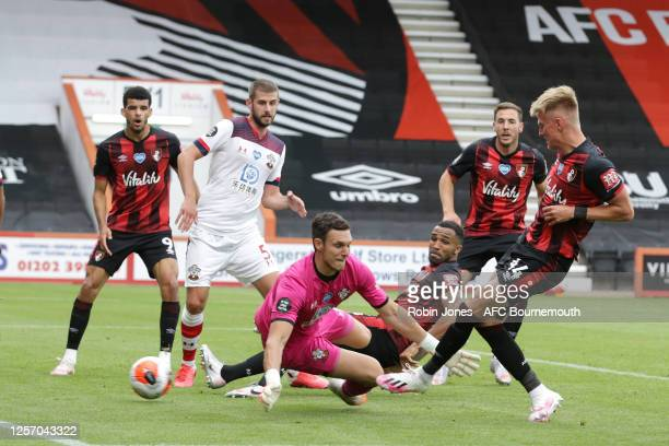 Sam Surridge of Bournemouth scores a goal to make it 11 but his goal is ruled out for offside during the Premier League match between AFC Bournemouth...