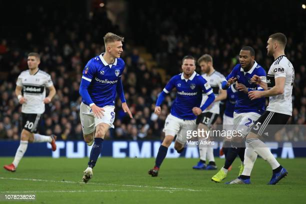 Sam Surridge of Oldham Athletic celebrates scoring a goal from the penalty spot during the FA Cup Third Round match between Fulham FC and Oldham...