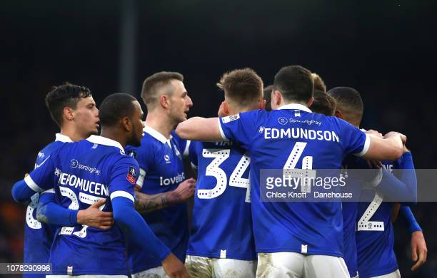 Sam Surridge of Oldham Athletic celebrates scoring his teams first goal during the FA Cup third round match between Fulham FC and Oldham Athletic AFC...