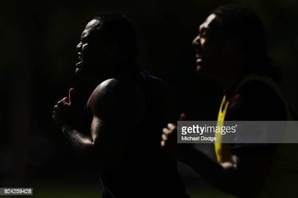 Sam Talakai sprints during a Melbourne Rebels Super Rugby training session at Gosch's Paddock on February 26 2018 in Melbourne Australia