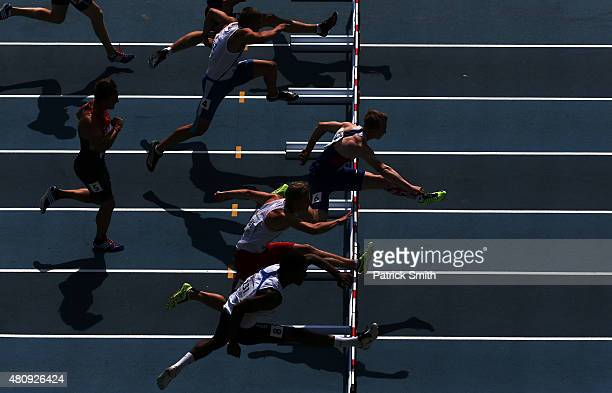 Sam Talbot of Great Britain leads during the Boys 110m Hurdles Decathlon Youth on day two of the IAAF World Youth Championships Cali 2015 on July 16...