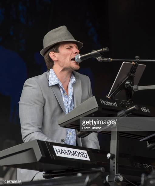 Sam Tanner of Cregan Co performs at Fairport Convention's Cropredy Convention at Cropredy on August 10 2018 in Banbury England