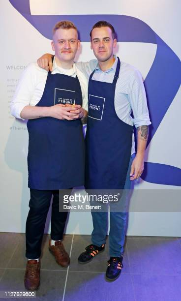 Sam Taylor and Simone Caporale attend the launch of The House Of Peroni on February 26 2019 in London England