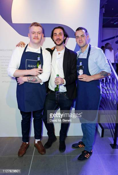 Sam Taylor Gareth Morgan and Simone Caporale attend the launch of The House Of Peroni on February 26 2019 in London England