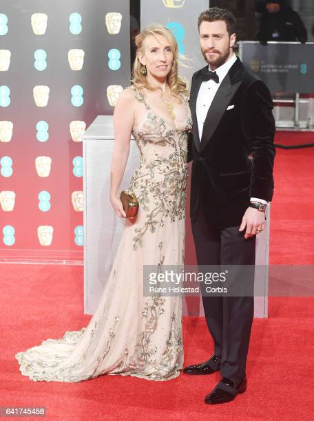 Sam Taylor Wood and Aaron Taylor Johnson attend the 70th EE British Academy Film Awards at Royal Albert Hall on February 12 2017 in London England