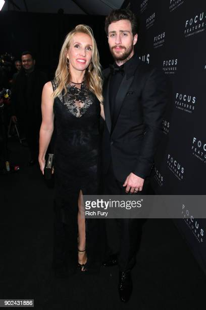 Sam TaylorJohnson and Aaron TaylorJohnson attend Focus Features Golden Globe Awards After Party on January 7 2018 in Beverly Hills California