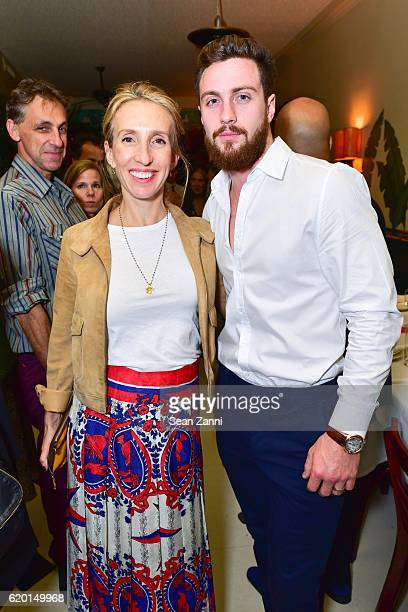 Sam TaylorJohnson and Aaron TaylorJohnson attend MeRo celebrates 25th anniversary at Indochine on October 20 2016 in New York City