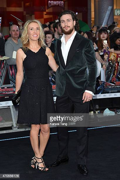 Sam TaylorJohnson and Aaron TaylorJohnson attend the European premiere of 'The Avengers Age Of Ultron' at Westfield London on April 21 2015 in London...