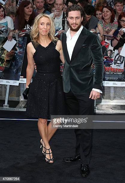 "Sam Taylor-Johnson and Aaron Taylor-Johnson attend the European premiere of ""The Avengers: Age Of Ultron"" at Westfield London on April 21, 2015 in..."