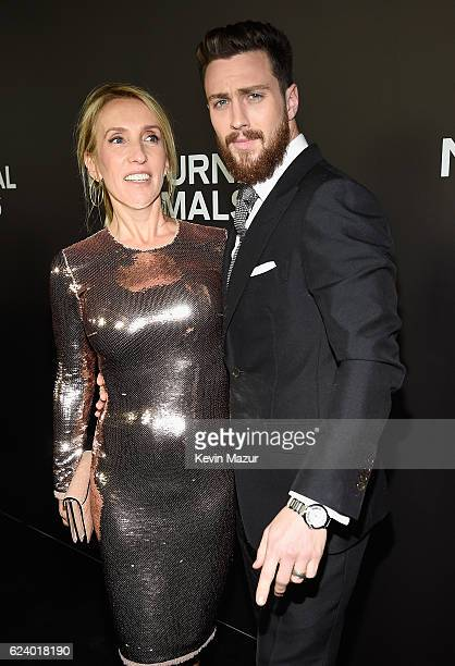 Sam TaylorJohnson and Aaron TaylorJohnson attend the New York Premiere of Tom Ford's Nocturnal Animals at The Paris Theatre on November 17 2016 in...