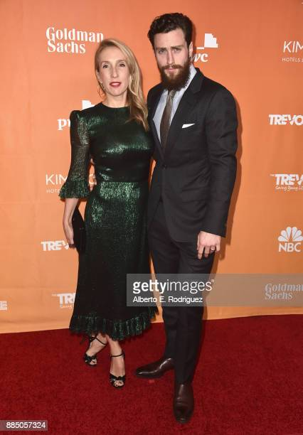 Sam TaylorJohnson and Aaron TaylorJohnson attend The Trevor Project's 2017 TrevorLIVE LA on December 3 2017 in Beverly Hills California