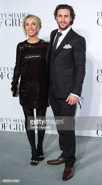 Sam TaylorJohnson and Aaron TaylorJohnson attend the UK Premiere of 'Fifty Shades Of Grey' at Odeon Leicester Square on February 12 2015 in London...