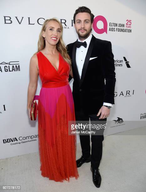 Sam TaylorJohnson and Aaron TaylorJohnson attends the 26th annual Elton John AIDS Foundation Academy Awards Viewing Party sponsored by Bulgari...