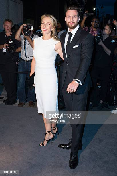 Sam TaylorJohnson and Aaron TaylorJohnson attends Tom Ford fashion show during New York Fashion Week at 99 East 52nd Street on September 7 2016 in...
