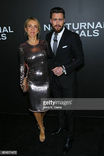Sam TaylorJohnson and actor Aaron TaylorJohnson attend the 'Nocturnal Animals' New York premiere held at The Paris Theatre on November 17 2016 in New...