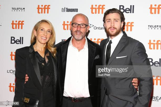 Sam TaylorJohnson James Frey and Aaron TaylorJohnson attend the 'A Million Little Pieces' premiere during 2018 Toronto International Film Festival at...