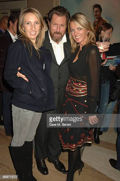 Sam TaylorWood Julian Schnabel and Lucinda Strummer attends the private view for Julian Schnabel's Pintura Del Figlo XXI his first show in 6 years at...
