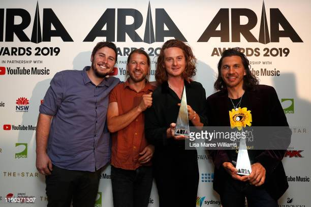 Sam Teskey, Josh Teskey, Brendon Love and Liam Gough of The Teskey Brothers pose in the awards room with the ARIA Awards for Best Blues and Roots and...