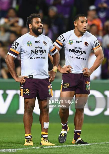 Sam Thaiday and Tautau Moga of the Broncos look dejected after losing the NRL Preliminary Final match between the Melbourne Storm and the Brisbane...