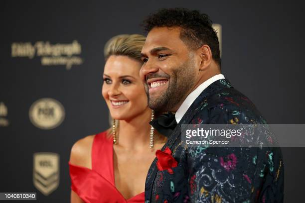 Sam Thaiday and wife Rachel Thaiday arrive at the 2018 Dally M Awards at Overseas Passenger Terminal on September 26 2018 in Sydney Australia
