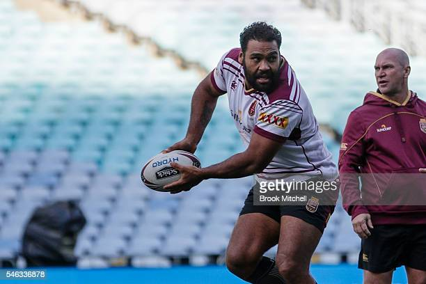 Sam Thaiday during the Queensland Maroons Captain's Run at ANZ Stadium on July 12 2016 in Sydney Australia
