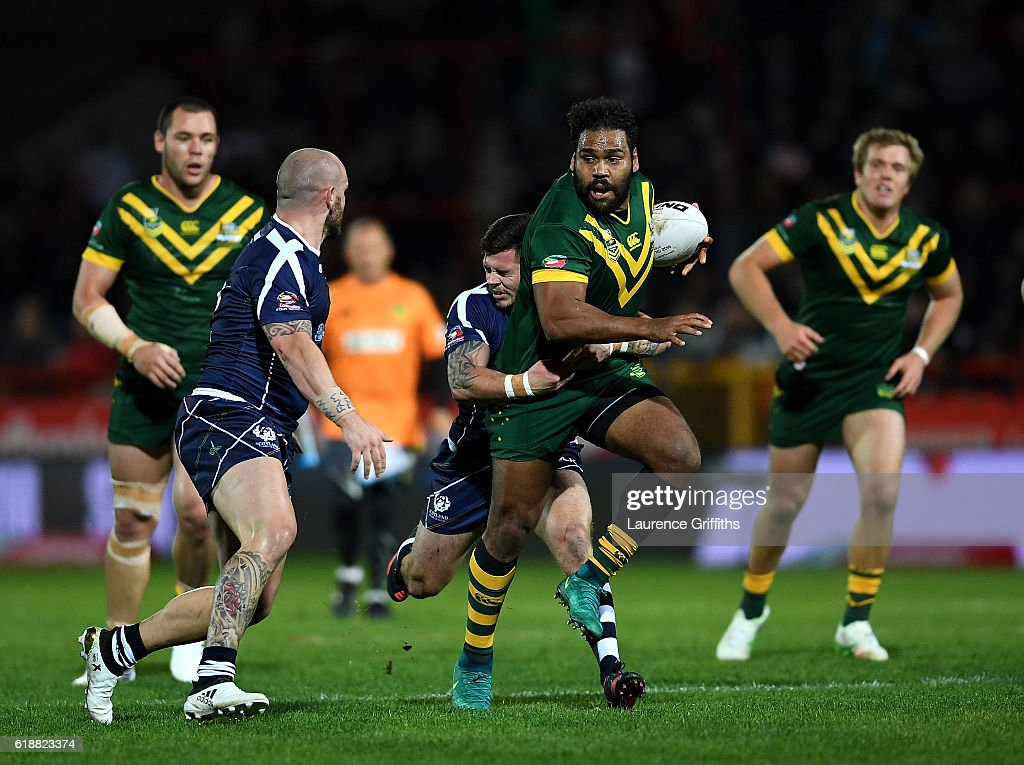 Sam Thaiday of Australia breaks throught the tackle of Liam Hood of Scotland during the Four Nations match between the Australian Kangaroos and Scotland at KCOM Lightstream Stadium on October 28, 2016 in Hull, United Kingdom.