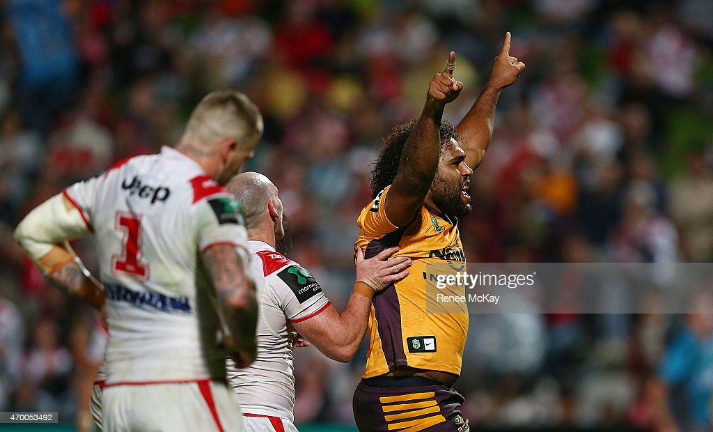 Sam Thaiday of the Broncos celebrates his try during the round seven NRL match between the St George Illawarra Dragons and the Brisbane Broncos at WIN Jubilee Stadium on April 17, 2015 in Sydney, Australia.