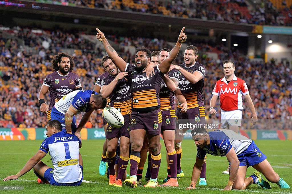 Sam Thaiday of the Broncos celebrates scoring a try during the round 24 NRL match between the Brisbane Broncos and the Canterbury Bulldogs at Suncorp Stadium on August 18, 2016 in Brisbane, Australia.