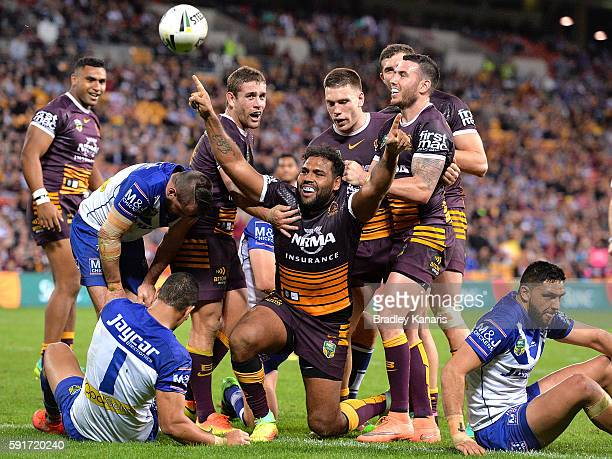Sam Thaiday of the Broncos celebrates scoring a try during the round 24 NRL match between the Brisbane Broncos and the Canterbury Bulldogs at Suncorp...