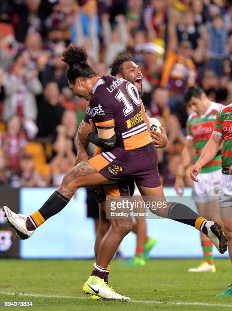 Sam Thaiday of the Broncos celebrates scoring a try during the round 14 NRL match between the Brisbane Broncos and the South Sydney Rabbitohs at...