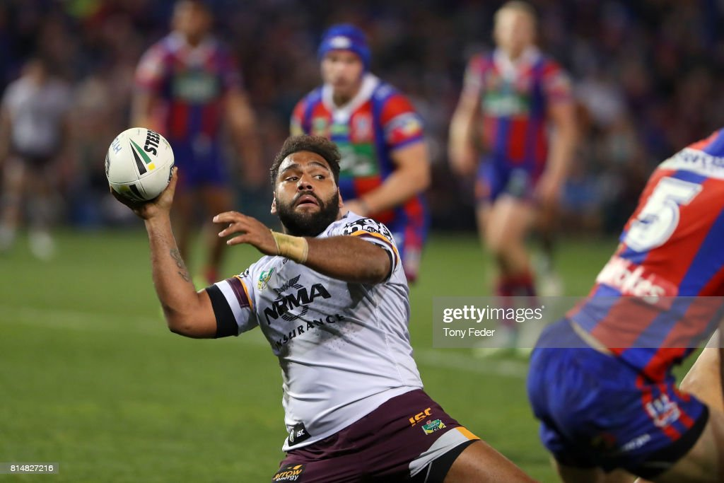 Sam Thaiday of the Broncos off loads the ball during the round 19 NRL match between the Newcastle Knights and the Brisbane Broncos at McDonald Jones Stadium on July 15, 2017 in Newcastle, Australia.