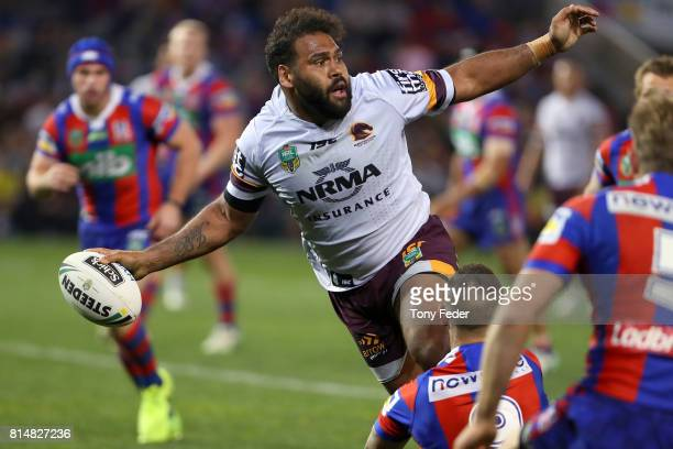 Sam Thaiday of the Broncos off loads the ball during the round 19 NRL match between the Newcastle Knights and the Brisbane Broncos at McDonald Jones...